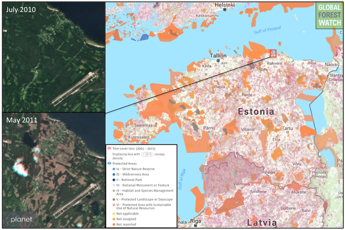 Satellite data from the University of Maryland indicate Estonia lost around 285,000 hectares of tree cover between 2001 and 2015.