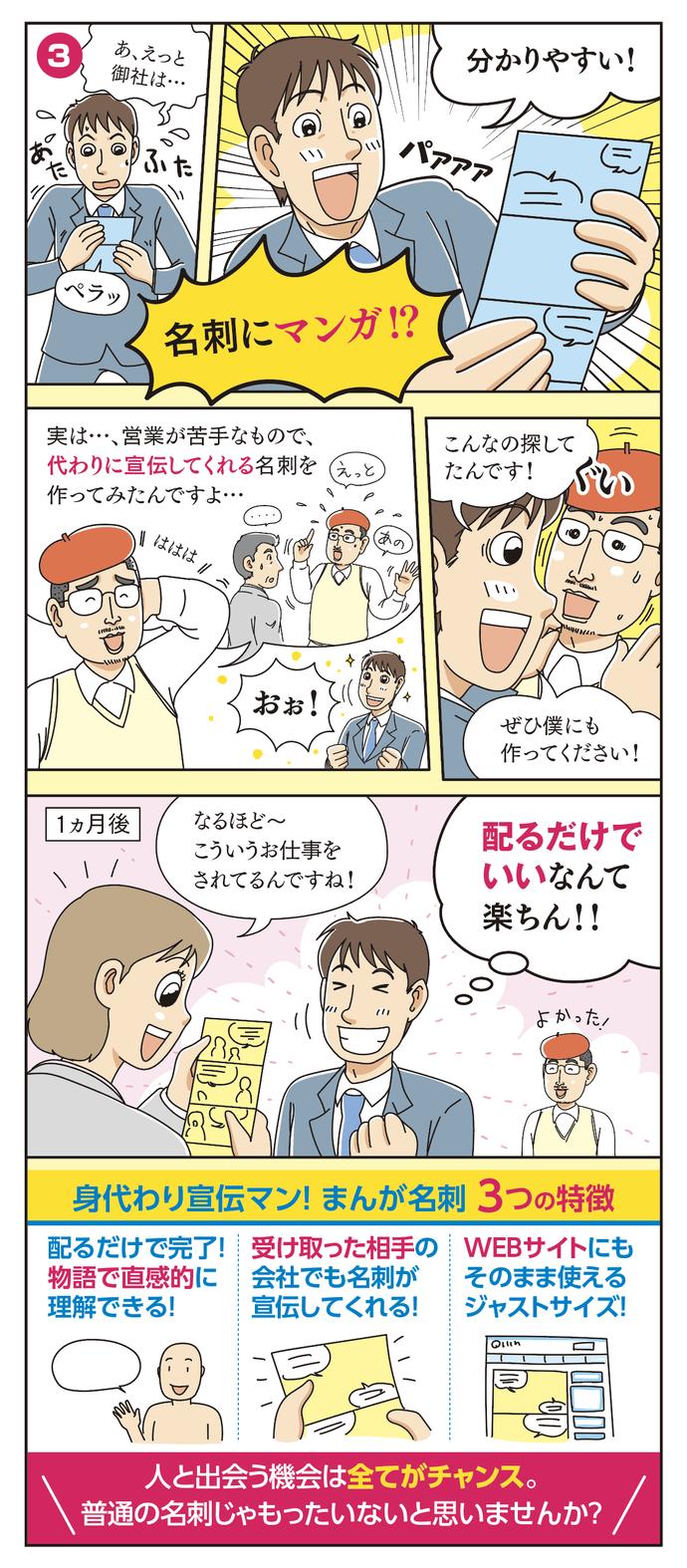 まんが名刺 中面 漫画の3コマ4コマ目
