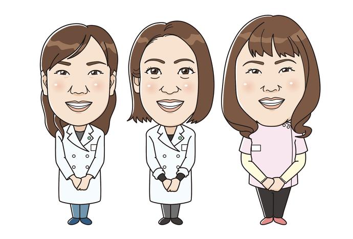 3姉妹の似顔絵