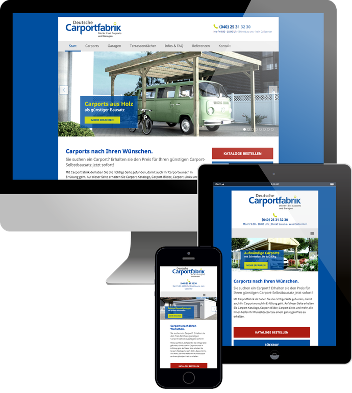 Jimdo responsive Web Design Carportfabrik