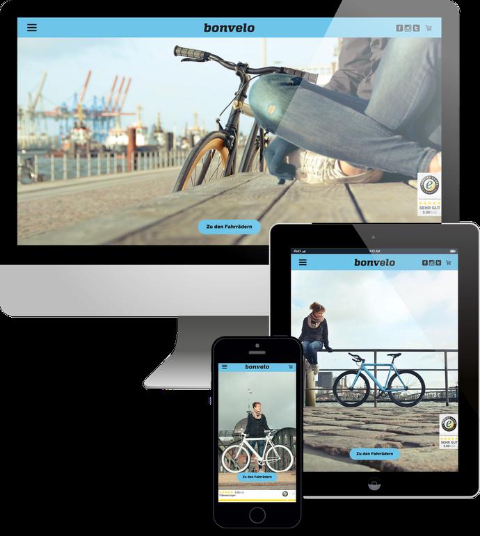 Jimdo responsive Web Design bonvelo Webshop