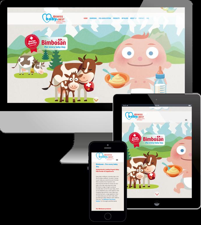 Jimdo responsive Web Design Swiss Babys Best - Bimbosan Handelsvertretung Singapur