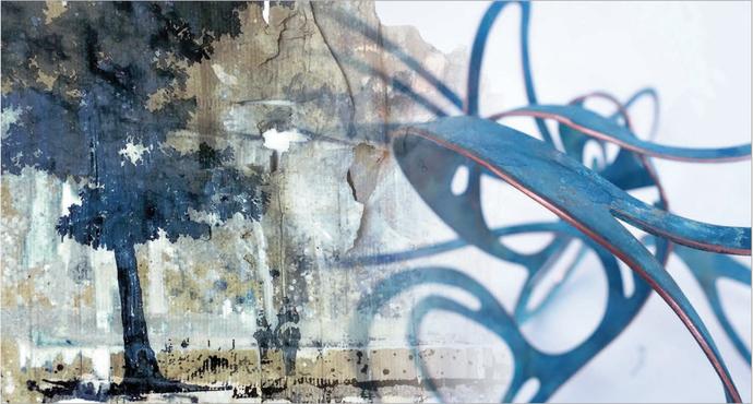 Peer Boehm: WOANDERS IST AUCH SCHÖN (Ausschnitt), 2016, Aquarell, Tusche und Acryl auf Wellpappe, 100 x 150 cm; Roland Schmitz: OCEAN DRIVE (Detail), 2016, Kupfer, 23 x 34 x 27 cm, Unikat, 3 + 2 AP