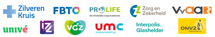 Logo's van zorgverzekeraars die de Somnio slaaptherapie vergoeden