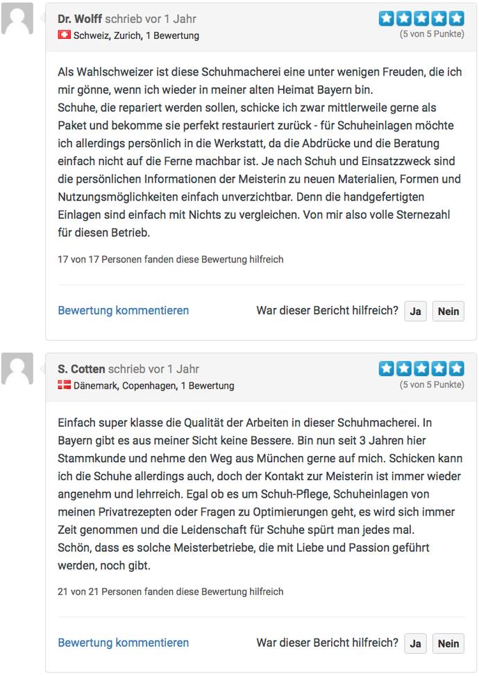 Internet-Bewertungen von Kunden der Schuhmacherei Ingrid B. Neumann