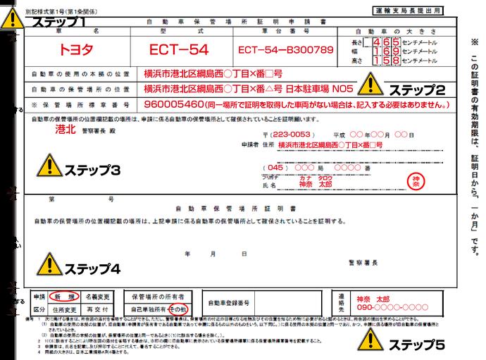 自動車保管場所証明申請書の書き方(神奈川県の場合)