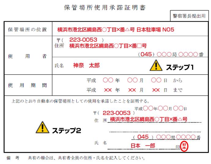 保管場所使用承諾証明書記入例(神奈川県の場合)
