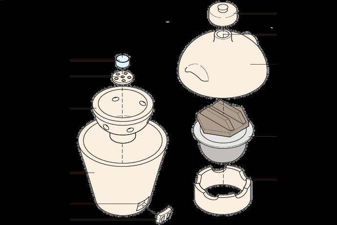 小田式ミニ蒸しかまどの内部構造・様々な部位と部品の名称