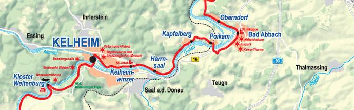 Vergrößerbare Karte: Etappe Kelheim bis Bad Abbach