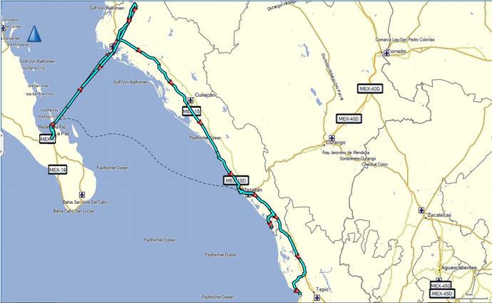 Die Route entlang der Pazifikküste bis Guadalajara