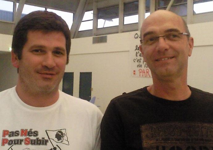 Pierre Peretti et Albert Malausse, délégués CGT Air France à l'escale de Bastia-Poretta (Photo NM)