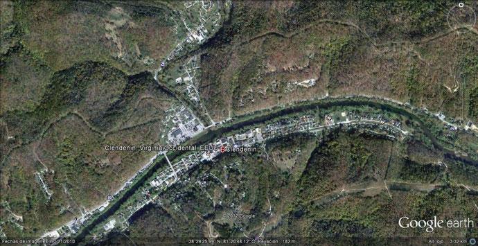 Clendenin Virginia  desde el satelite de Google Earth en la actualidad