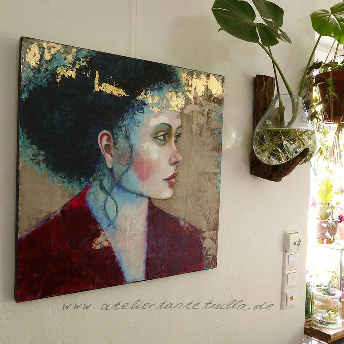 "Mixed Media Painting with goldleaf ""Forever and a day"", www.ateliertantetrulla.de"
