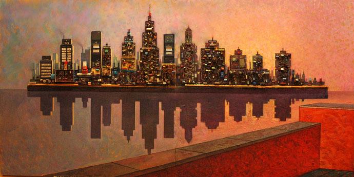 Skyline. Técnica mixta. 200 cm. x 100 cm. 2006