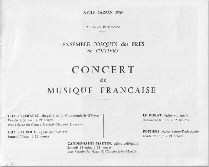 Concert de l'ensemble Josquin des Prés de Poitiers le 30 mai 1980
