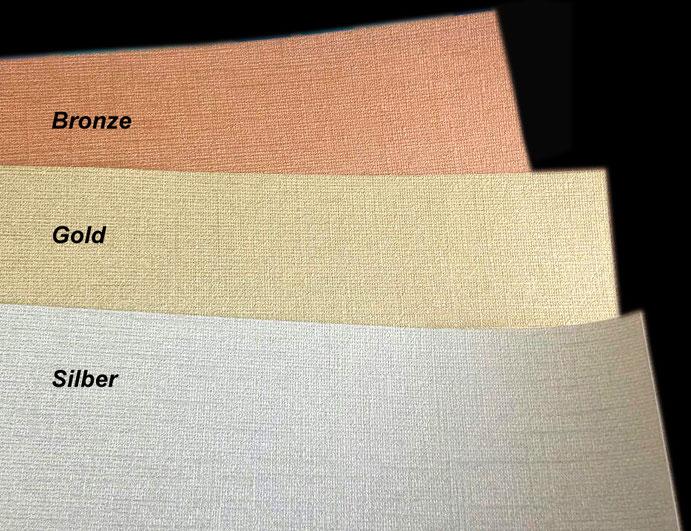 Metallic-Effekt-Bordüren: Bronze, Gold, Silber - edler Glanzeffekt durch feine Textil-Struktur, Vinyl-Vliestapete 315 g/m²