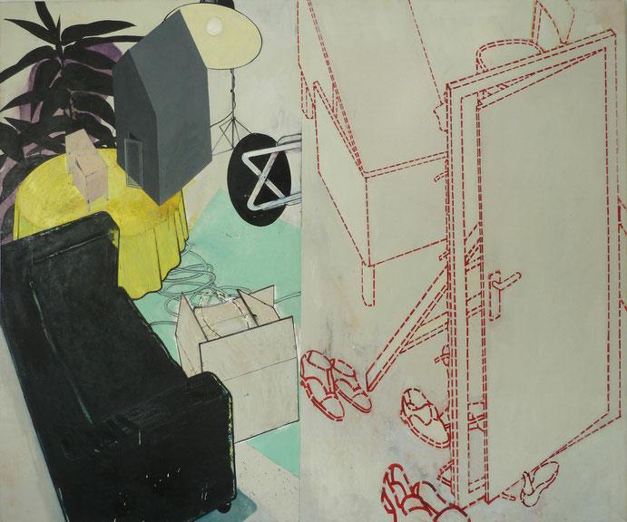 """""""Auszug aus grosser Idylle"""", 2011, Öl auf Leinen, 220 x 270 cm"""