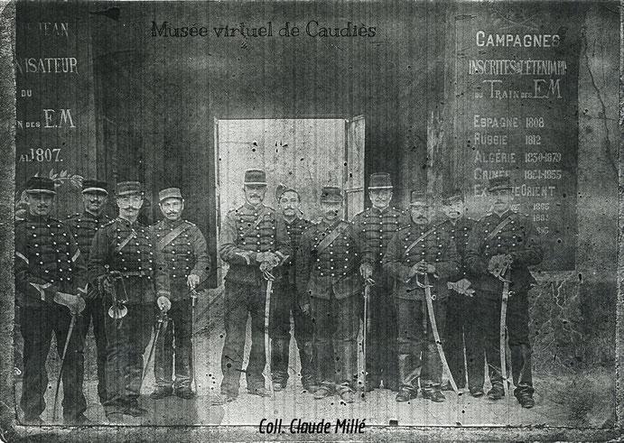 Armand Millé au 16e Escadron du Train '(1er à droite)