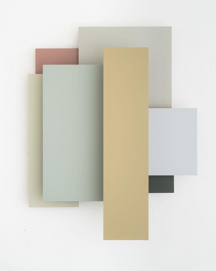treppauf-treppab V, Relief 2021, Acryl auf MDF, ca 64 x 52 cm