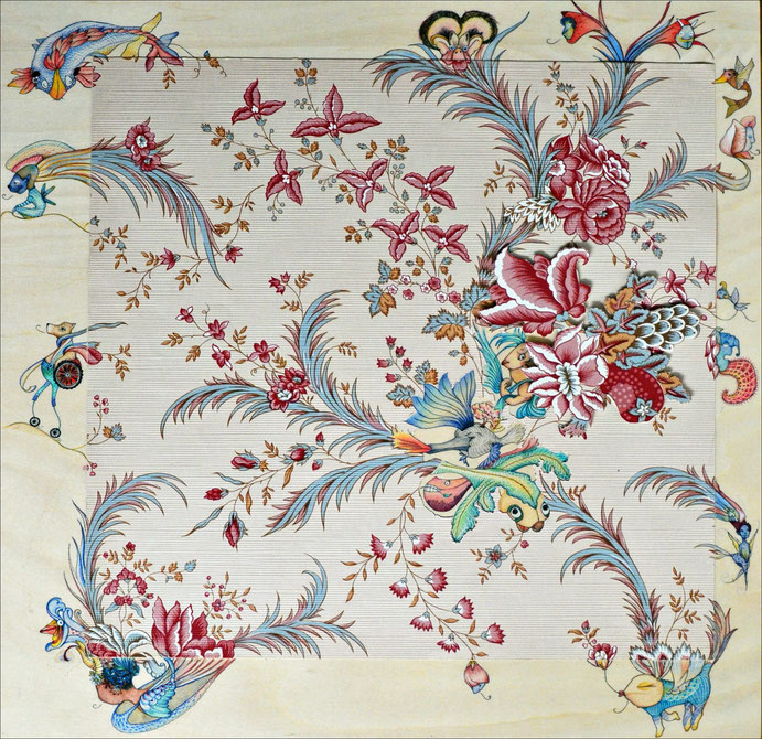 Papel y madera, N° 2. Collage con papel tapiz, 50 x 50 cm