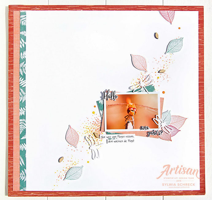 Layout mit Libelle und Stampin Up Designerpapier