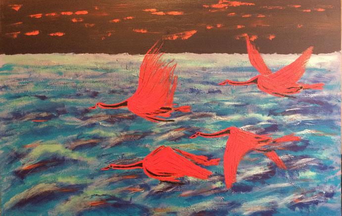 Cruising Birds 91cm x 61cm Acrylic on canvas $200 (excluding freight)