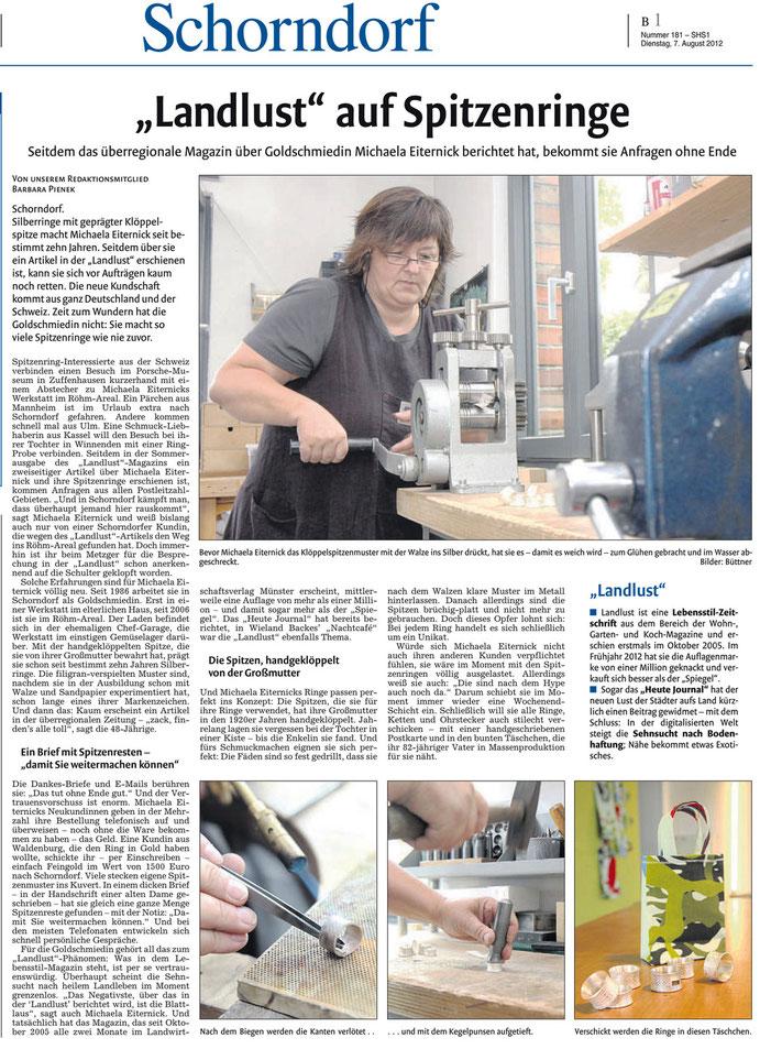 Schorndorfer Nachrichten, 7. August 2012, Spitzenringe, S.1