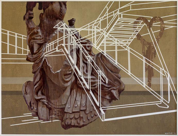L'heure des transparences ~~ encre offset, acrylique et adhésifs sur bois - 122x160 cm ~ 2019