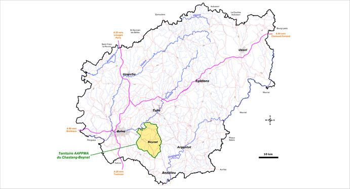 Carte de la Corrèze pour localiser le territoire de l'AAPPMA du Chastang-Beynat