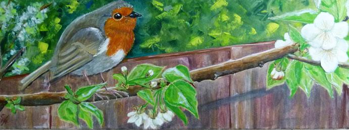 30.Robin on cherryblossom 30x80 cm