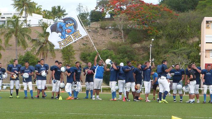L'équipe de football américain des Flying Fox de Nouméa, lors d'un match en 2015, Nouvelle Calédonie