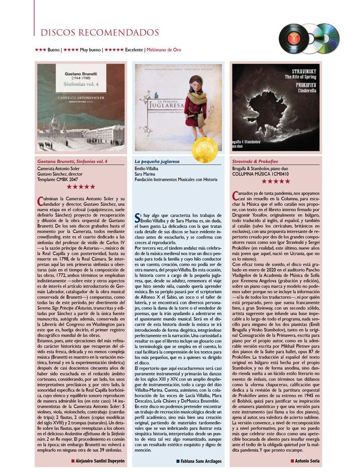 La Pequeña Juglaresa, Emilio Villalba y Sara Marina. Revista Melómano, nº 272. Abril 2021