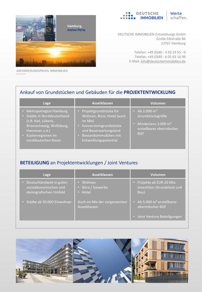 """Grafik: """"Immobilien-Ankaufsprofil"""" DEUTSCHE IMMOBILIEN Entwicklungs GmbH, Hamburg"""