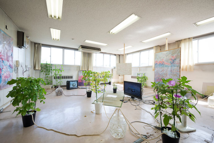 """Human/Vegetable ""installation view, 2015, from group exhibition ""Siding Railroad"" 2015"" ex-Tokorozawa Meal Center, Tokyo , Japan"