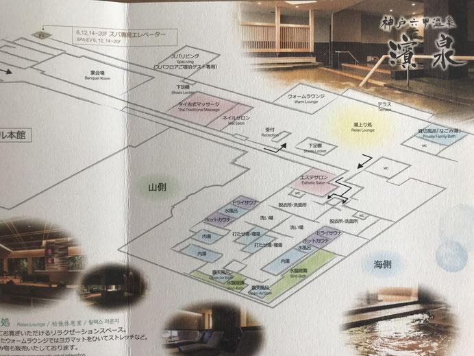 スパフロアから濱泉への案内図
