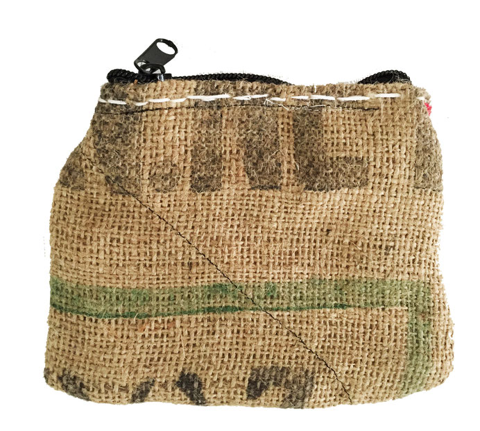 burlap zipper bag - back