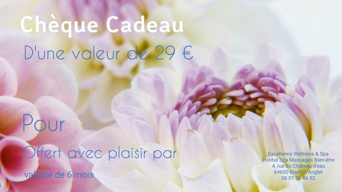 Chèque Cadeau massage relaxant, bien-être, Bayonne, Excellence Wellness & Spa.
