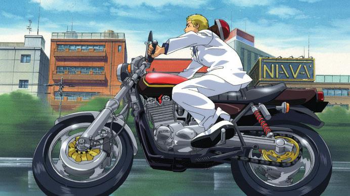 Onizuka sur sa moto, personnage principal de GTO (Great Teacher Onizuka)! Source: https://www.senscritique.com/serie/GTO_Great_Teacher_Onizuka/77709