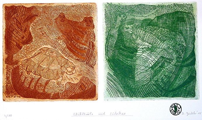 Schildkröte und Eidechse: Strichätzung, Kaltnadel, Aquatinta auf Bütten, Auflage 10, 29 x 43 cm, 2015