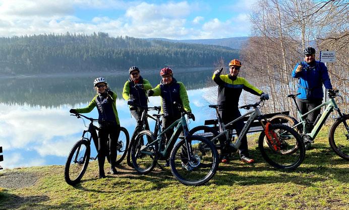 Stefan, Martin, Michael und Oli (von links) vom Harzer E-Bike Verleih
