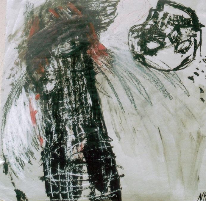 Envoyer balader la mort / 2002 / Acrylique, markers et craies sur papier / 50x50 cm