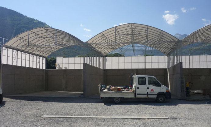 Ouvrage d'art en béton armé - génie civil - construction de boxes en béton armé banché pour une plateforme de compostage