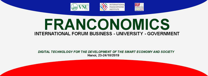 トリコロールカラーでデザインされた「FRANCONOMICS」国際フォーラムのタイトル画像です。FRANCONOMICS  INTERNATIONAL FORUM - BUSINESS - UNIVERSITY - GOVERNMENT
