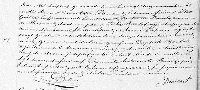 Archives de l'Etat de Belgique (Mons), commune de Saint-Vaast, registre des décès