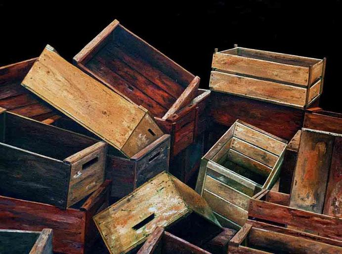 Cajas 2001, óleo sobre lienzo 46X60 cm