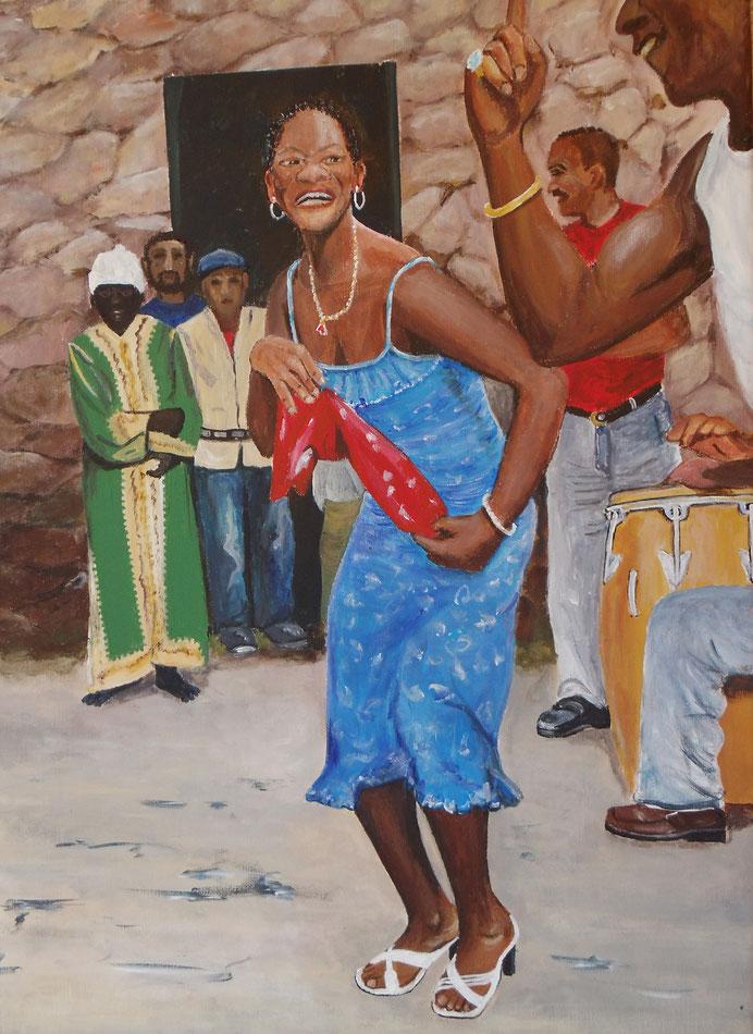 Bailando en Cuba, Acryl, Leinwand