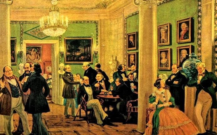 """Lemonnier, """"Une soirée chez Madame Geoffrin"""" (1812)"""