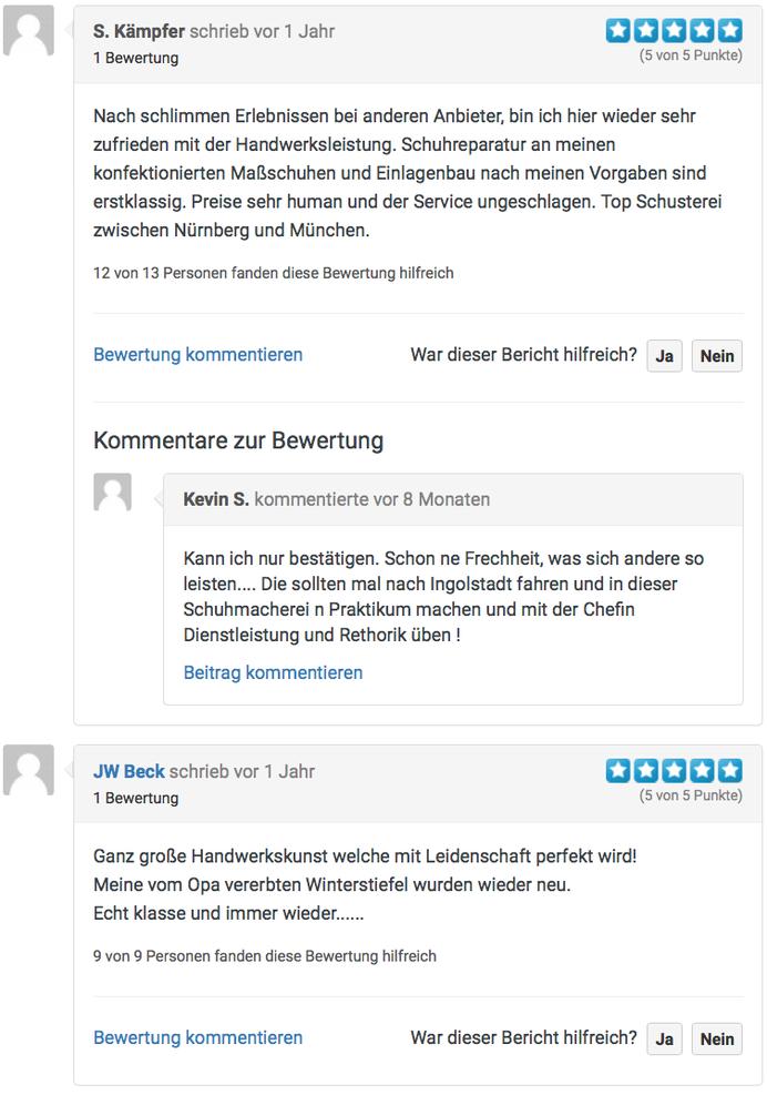 Online Rezensionen der Kunden Schuhmacherei Ingrid B. Neumann