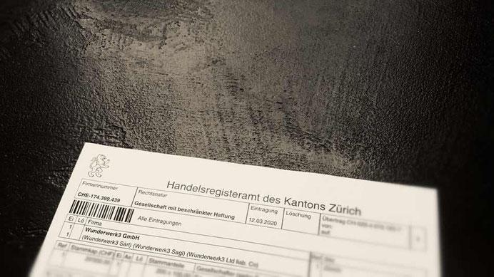 Umfirmierung Raumgestaltung Wunderbar wird Wunderwerk3 GmbH Zürich