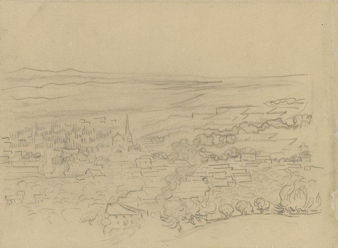 「F1541」スケッチ。丘の上から描いた村のスケッチ画を実際には見えないはずの小麦畑の風景画に付け足したと考えられる。